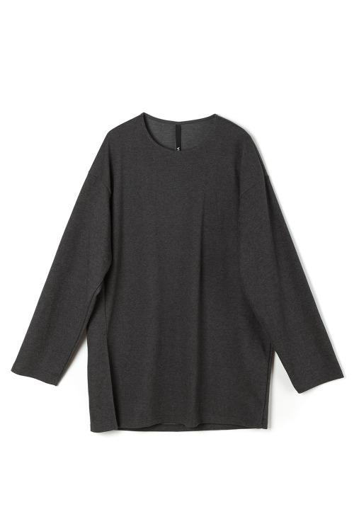 Loose-fit Side Slit T-shirt [Charcoal]