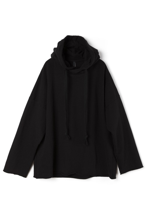 Oversized Raw Edge Hoodie [Black]