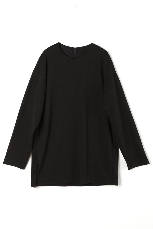 Loose-fit Side Slit T-shirt [Black]